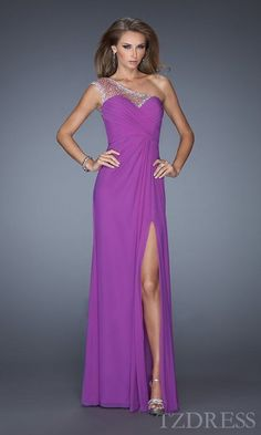 Fashion One-Shoulder Natural Column Orange Sleeveless Evening Dress In Stock tzdress6356