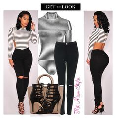 """STRIPED BODYSUIT LOOK"" by dopegeezy ❤ liked on Polyvore featuring Topshop and Michael Kors"