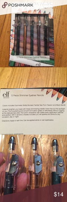 """ELF 5 colored eye pencils with built in sharpeners BNWT. If you love playing with make up and trying different looks. This is perfect. It's quality Make up for the women on a budget , so no guilt for wasting products. Save the expensive stuff once you've mastered the """"look"""" colors include: gunmetal, boldly bronzed, twinkle teal, plum passion"""" and """"black bandit"""" you can create so many looks and this will last you. Great reputation and that is gaining sided with the """"big boys"""".  Plus free gift…"""