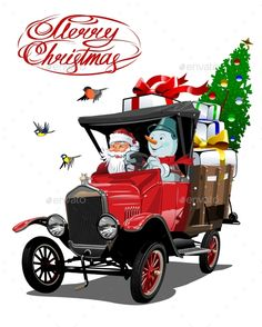 Buy Vector Christmas Card with Cartoon Retro Christmas by Mechanik on GraphicRiver. Vector Christmas card with cartoon retro Christmas delivery truck, Santa, reindeer and christmas lettering. Pallet Christmas, Christmas Truck, Retro Christmas, Christmas Pictures, Kids Christmas, Christmas Crafts, Christmas Decorations, Christmas 2019, Christmas Labels
