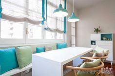 Comedor estilo contemporaneo color turquesa, azul cielo, marron, blanco, gris diseñado por Dröm Living | Interiorista | Copyright Dröm Living