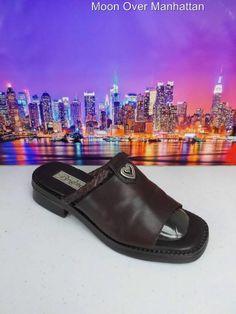 Womens shoes BRIGHTON designer brown leather low heel Slide Sandals sz 7.5 M