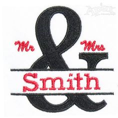 Mr. and Mrs Wedding Embroidery Designs
