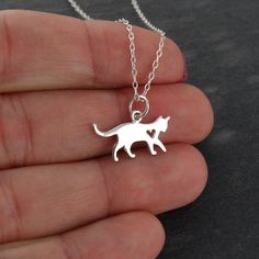 Cat Charm Necklace in Sterling Silver   FashionJunkie4Life.com