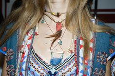 Dreamin' inspiration saw folky fabrics blend with dreamcatcher jewelry worked from raw stones, beads and feathers mingle with long hair, left loose over the shoulders.