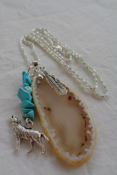 Gorgeous Sliced Agate & Turquoise Pendant w Feather by BohemianUp