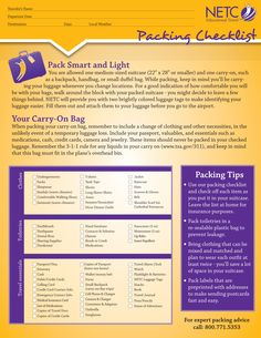 Don't forget the essentials with this packing checklist! Printable copy at: www.educationaltravel.com/pdfs/Packing-Checklist-Printable.pdf