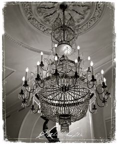 large medallion with chandelier