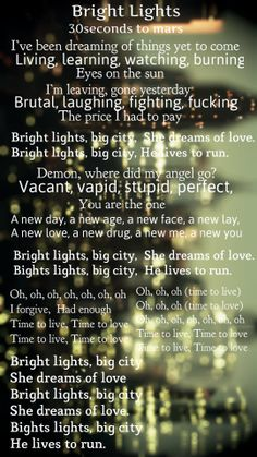30 seconds to mars - Bright lights lyrics