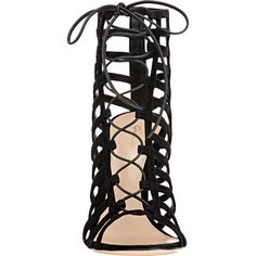 Gianvito Rossi Women's Caged Lace-Up Sandals (€1.135) ❤ liked on Polyvore featuring shoes, sandals, heels, leather lace up sandals, heeled sandals, open toe sandals, black leather shoes and black caged sandals