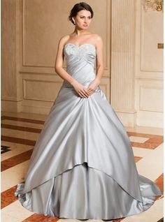 Ball-Gown Sweetheart Watteau Train Satin Wedding Dress With Ruffle Lace