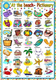 First worksheet in a set on the beach. This is the pictionary. I hope you like it and find it useful. I wish you all a wonderful summer. English Vocabulary Words, Learn English Words, English Lessons, English Writing, English Study, English Grammar, English Language Learning, Teaching English, Ingles Kids