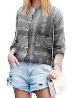 Trendy Irregular Plaid Pattern Long Sleeve Single Breasted Button Leisure Blouse For Lady Gray on buytrends.com