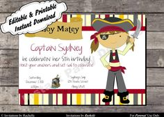 Pirate Birthday Party Invitation - Editable Printable Digital File with Instant Download