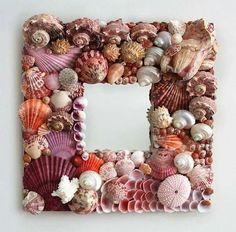 Handmade seashell mirror covered in exotic pink shells - HORSESHOE BAY Seashell Art, Seashell Crafts, Beach Crafts, Diy And Crafts, Arts And Crafts, Seashell Frame, Atelier Couture Diy, Seashell Projects, Craft Projects