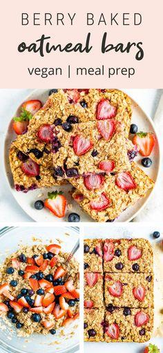 Berry Bake Oatmeal Bars Good Healthy Recipes, Healthy Treats, Easy Dinner Recipes, Real Food Recipes, Healthy Food, No Bake Oatmeal Bars, Baked Oatmeal, Vegan Snacks On The Go, Beef Recipes