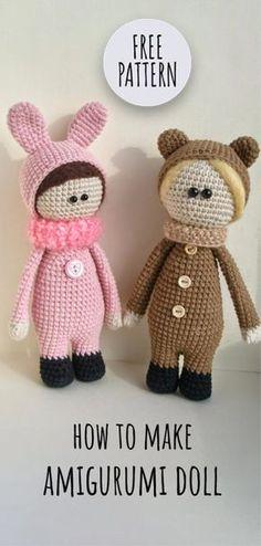 So Cute Amigurumi Bunny Tutorial Doll Amigurumi Free Pattern, Amigurumi Doll, Amigurumi Tutorial, Crochet Bear, Crochet Dolls, Knitted Animals, Sewing Toys, Stuffed Toys Patterns, Learn To Crochet