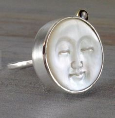 Mother of Pearl Black Sapphire Gold and Silver Ring  Moon face ring