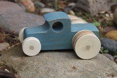 Blue Wood Car by CreatedbyBabs on Etsy, $8.00