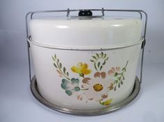 Vintage Cake Carrier Flower Pie Carrier Tin Cake by PherdsFinds