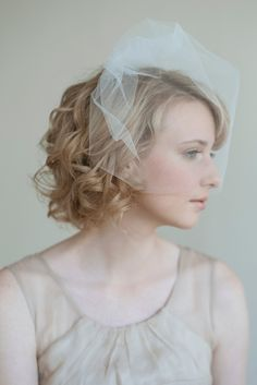 short curly hair bride with airy birdcage veil.  veil by twigs & honey, photo by lisa warninger