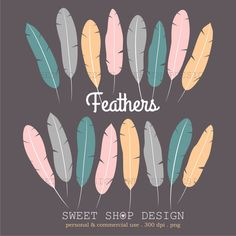 16 Feathers Digital Clip Art, Printable Clip Art, Royalty Free Clip Art, Instant Download by SweetShopDesign, $4.95