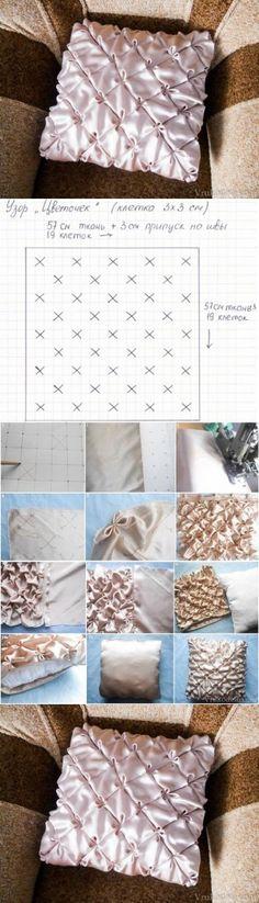 diy, pillow, flower pattern, handmade na szycie - Zszywka. Smocking Tutorial, Smocking Patterns, Sewing Patterns, Diy Tutorial, Skirt Patterns, Coat Patterns, Blouse Patterns, Fabric Crafts, Sewing Crafts