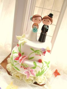LOVE ANGELS Wedding Cake Topper-love bride and groom with sweet heart - Couple. $350.00, via Etsy.