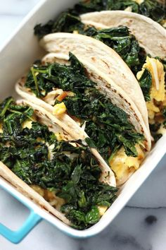 (5 Ingredient) Crispy Kale and Smoked Gouda Scrambled Egg Tacos | Baker by Nature