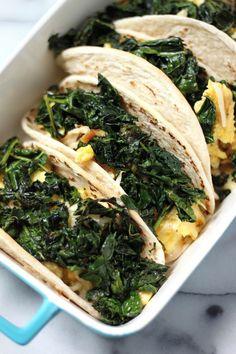 (5 Ingredient) Crispy Kale and Smoked Gouda Scrambled Egg Tacos