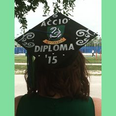My DIY Slytherin Graduation Cap! I love how it turned out! Once a nerd, always a nerd.