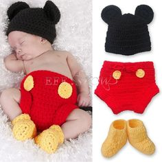3pcs Baby Boy Girl Mickey Mouse Hat+ Botton+ Boots Crochet Knit Infant Outfit #Fashion