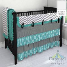 Solid Emerald Turquoise, White and Gray Zig Zag, Black Gingham, Black Satin, Turquoise Arrow used in crib bedding created with the Nursery Designer by Carousel Designs. Mix and match hundreds of fabrics to create your own unique baby bedding.