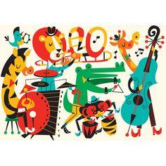 L'affiche La musique des animaux est idéale en décoration dans la chambre de votre enfant. C'est un cadeau de naissance original.