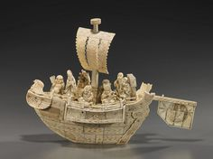 象牙船 (12), Art Ivory boat.