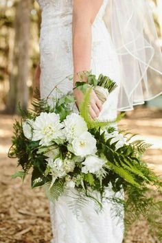 Stunning Wedding Bouquet Featuring White Florals, Several Varieties Of Green Fern + Additional Greenery & Foliages~~