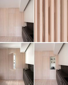 Interior Design Ideas - The wood slat wall in this modern apartment incorporates secret doors, and all storage and service requirements for the apartment, including kitchen appliances and hanging cupboards, resulting in a highly efficient plan. Küchen Design, Door Design, House Design, Design Ideas, Wood Wall Design, Wood Slat Wall, Wood Slats, Apartment Renovation, Apartment Design