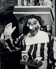 A frightening sight indeed. This is the original Ronald McDonald for McDonalds restaurants. The wig looks matted and the cup for a nose is an enormous fail. This character more accurately resembles a drunken referee after a fight with a stadium food vendor. An interesting fact: Ronald is played here by future Today Show weatherman Willard Scott