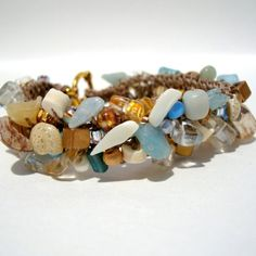Beach Shell Bracelet Thin Cuff Hand Knit beaded by lapisbeach on etsy.