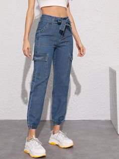 Only Jeans, Mom Jeans, Denim Display, Denim Fashion, Fashion Outfits, Teen Fashion, Cargo Jeans, Denim Jeans, Hooded Dress