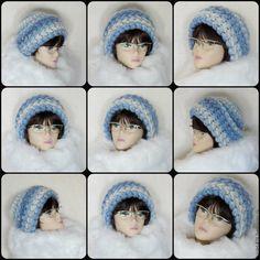 Купить Женская вязаная шапка, зимняя теплая женская шапка из шерсти с мохером - голубой