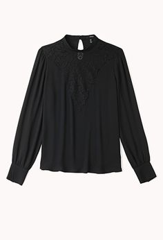 A semi-sheer Georgette blouse featuring a baroque pattern lace yoke. High collar. Long sleeves with button cuffs. Keyhole button closure. Unlined. Woven. Lightweight.  £19.75 by Forever 21