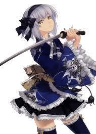 Anime Girl short Hair White Hair Sword Katana Samurai Ninja