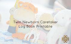 Twin Newborn Caretaker Log Book Printable