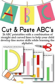 These ABC printables are a great way let your little ones practice cutting and pasting. Glue them onto colored craft paper and hang them up...