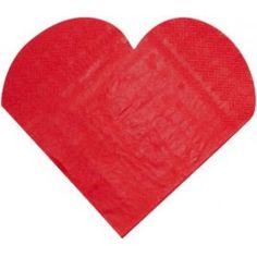 Serviettes de Table Coeur Rouge les 20 serviette en papier