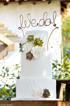 Succulent Wedding Cake by http://facebook.com/theroyalbakery
