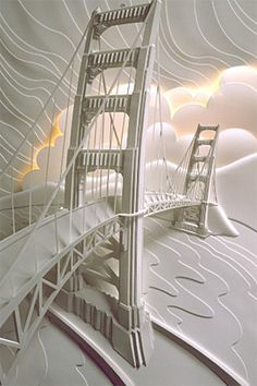 les œuvres sur papier vierge de l'artiste Jeff Nishinaka qui vient de Los Angeles et réalise de jolies compositions 3D en pliant et collant des morceaux de papiers coupés: