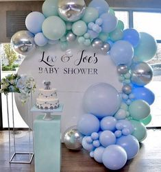 A beautiful setup for this baby shower💗 . . Design & styling by:@dreamcreations_designs  Balloons by: @weballoonz  Round backdrop by: @glamourous_affairs  Calligraphy by: @natashasprintsanddesigns Photo by @cgambrah_photographyvideo . #babyshower #babyshowerideas #christening #kidsbirthday #babyboy #event #eventstylist #eventstyling #balloongarland #balloonarch #blue #malibu #calabasas #losangeles #celebration #party #partyideas #decor #dessertstation #cake #floral Mint Baby Shower, Baby Shower Bouquet, Baby Shower Roses, Deco Baby Shower, Shower Party, Baby Shower Parties, Bridal Shower, Baby Shower Balloon Ideas, Baby Shower Backdrop