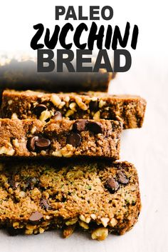 Zucchini bread is my favorite paleo treat and this recipe is the best one I've tried! It's the perfect balance of crumbly and moist. This zucchini bread is made with almond flour coconut oil enjoy life chocolate chips and walnuts. It's easy to pull to Paleo Zucchini Bread, Paleo Bread, Paleo Baking, Gluten Free Baking, Paleo Flour, Paleo Banana Bread, Zucchini Pizzas, Paleo Dessert, Dessert Recipes